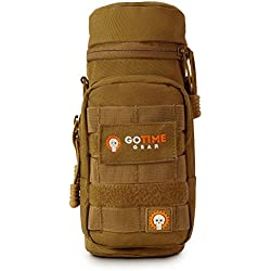 Go Time Gear Exo-Tek H2O MOLLE Water Bottle Pouch Hydration Carrier – Use as MOLLE Water Bottle Holder, Tactical Water Pouch, Hydration Carrier – Fits Up to 40 oz. Wide-Mouth Bottles (Coyote Brown)
