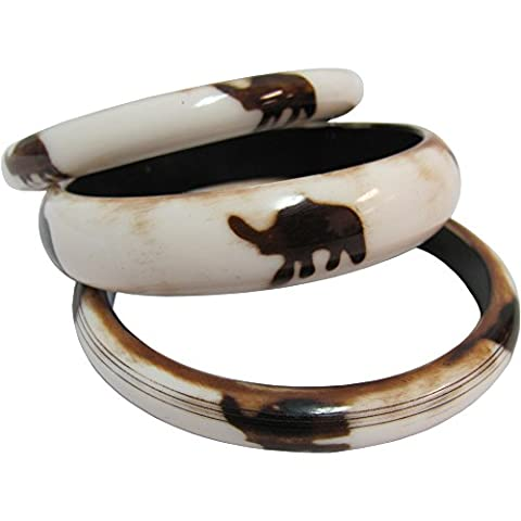 White Elephant Yoga Meditation Fashion Jewelry Stacked Bangle Bracelet Set of 3 - Roberto Coin Elephant Jewelry Set
