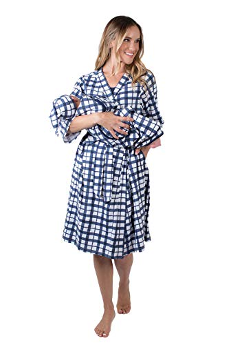 Matching Delivery Robe and Swaddle Blanket Set Mom and Baby (S/M 2-10, Blue ()