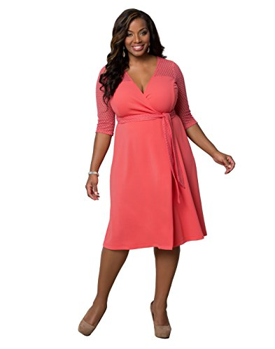 Kiyonna Women's Plus Size Honeycomb Wrap Dress 3X Carousel Coral