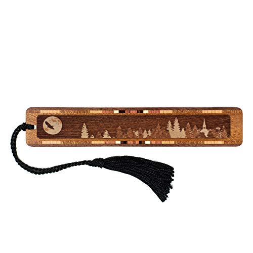 Keepsake Raven - Raven with Moon Engraved Wooden Bookmark with Black Tassel - Personalized Version Search B07192SNGN