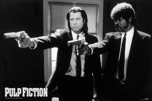 Póster de Pulp Fiction (91,5 x 61 cm) con Jules y Vincent en Blanco y Negro. Diseño de J. Travolta y Samuel L. Jackson