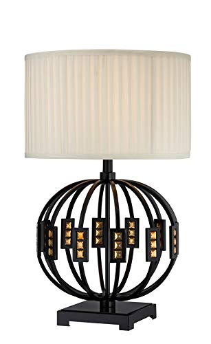 Lite Source LS-22166 Topaz Table Lamp, Mirror Body, Fabric Shade