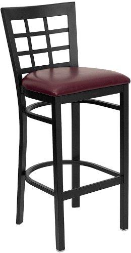 Offex Black Window Back Metal Restaurant Bar Stool - Burgundy Vinyl Seat