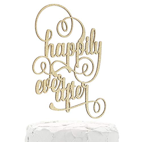 Disney Wedding Cake Toppers (NANASUKO Wedding Cake Topper - happily ever after - Double Sided Gold Glitter - Premium quality Made in)
