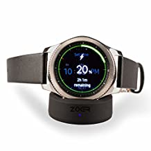 ZOER Wireless Charger Charging Dock for Samsung Gear S3 S2 Classic Sport Frontier Smart watch (AC adapter not included) Black