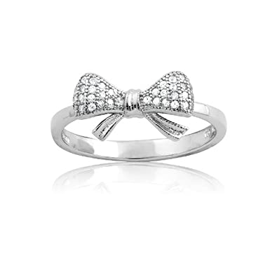 Sterling Silver and CZ Small Bow Ring. Available in sizes 6 – 7 – 8 – 9