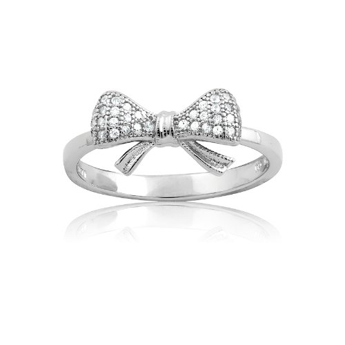 Sterling Silver and CZ Small Bow Ring (Size 7) Available in sizes 6 - 7 - 8 - 9