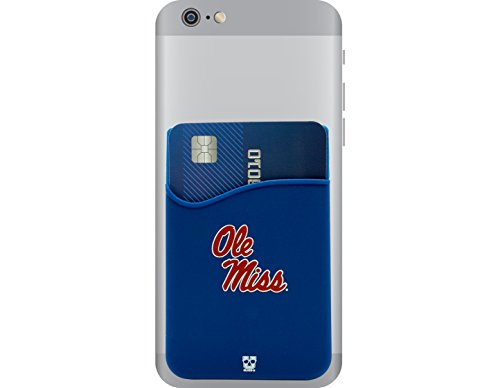 Ole Miss Rebels Adhesive Silicone Cell Phone Wallet/Card Holder for iPhone, Android, Samsung Galaxy, Most Smartphones