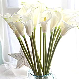 "Lily Garden 26"" Artificial Calla Lily Real Touch Stem Flower Bouquets (6, White) 103"