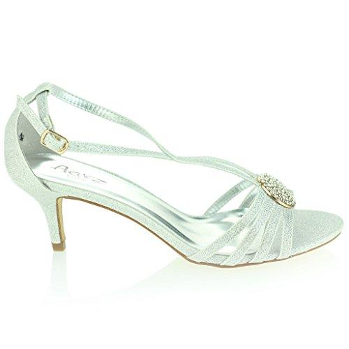 Mujer Señoras Broche de Cristal Correa Diamante Delgado Tacón Medio Noche Fiesta Boda Paseo Sandalias Zapatos Talla Plata