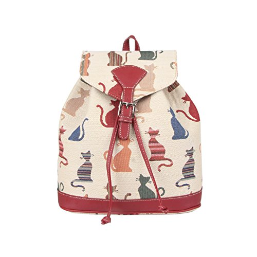 Cheeky Cat White and Red Ladies Fashion Canvas Tapestry Flap Buckle Pull String Fashion Casual Rucksack Backpack by Signare (RUCK -CHEKY)