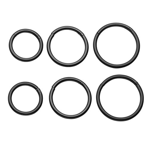 Jovivi 3pairs 8-12mm 16G Stainless Steel Segment Septum Lip Nose Hoop Rings Helix Daith Cartilage Tragus Body Piercing Jewelry (16g 11mm Lip Rings)