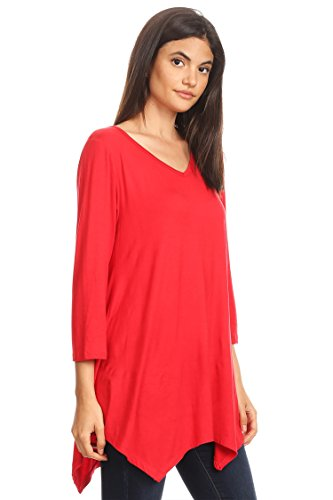 Women's in Tunic Made Long Hte00010 USA Sleeves Loose Neck Fit Top Red Round zxYqzTrw8