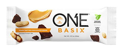 Oh Yeah Peanut Butter - ONE Basix Protein Bar Peanut Butter Chocolate Chunk 12 Count, Gluten-Free Protein Bar with High Protein (20g) and Low Sugar (1g), Guilt Free Snacking for Healthy Diets
