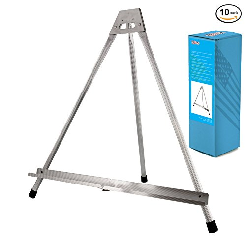 US Art Supply Aluminum Tabletop Easel Tri-Pod Display Table Top Design with Rubber Feet 10-Easels (Large - NO - 400 Us