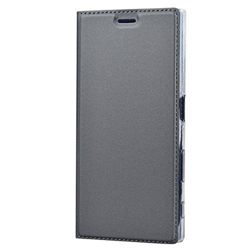 Sony Xperia XZ1 (5.2) Funda ,GOGME Funda de cuero Funda Flip Funda de cuero Funda protectora con cubierta de teléfono celular para Sony Xperia XZ1 - Negro Negro