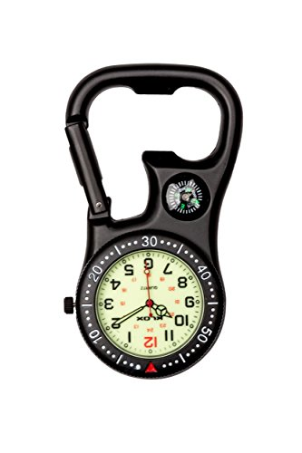 Klox Unisex Black Clip-On Carabiner Pocket FOB Watch Compass Bottle Opener for Doctors Nurses Paramedics Chefs Analog Display Quartz Movement - Compass Pocket Watch