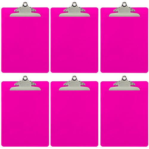 Trade Quest Plastic Clipboard Opaque Color Letter Size Standard Clip (Pack of 6) (Pink)