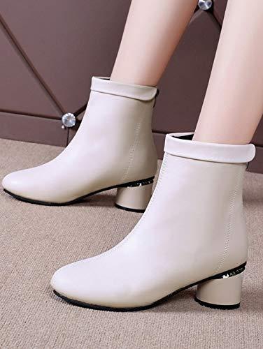 YSFU Stiefel Damen Stiefeletten Dicke Ferse Ferse Ferse Zurück Reißverschluss Stiefel Damen Stiefelies Niedrige Ferse Casual Herbst Winter Outdoor 7ef229