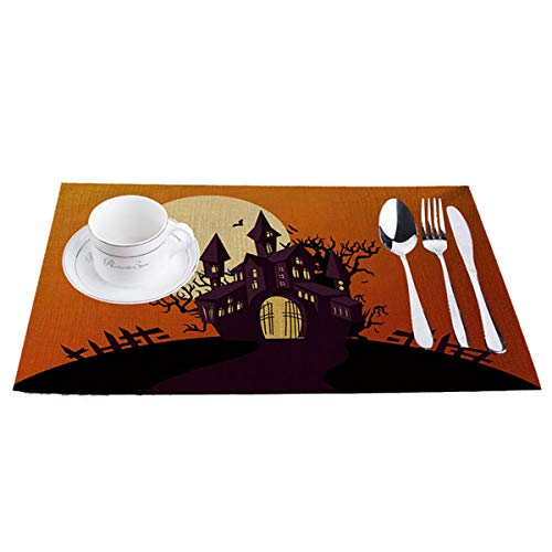 Taotopia Placemats,Haunted House - Perfect for Halloween, Dinner Parties and Scary Movie Nights (D) -