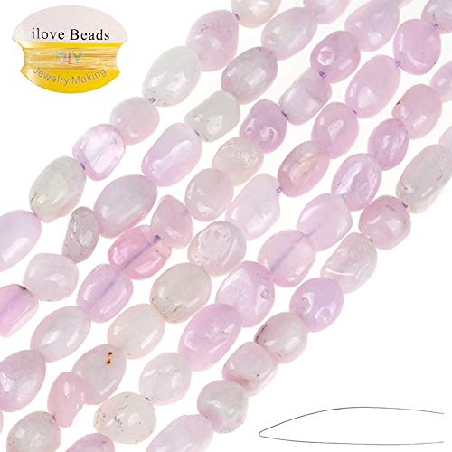 ILVBD 6x8mm Irregular Gravel Shape Stone Beads Gemstone Beads Energy Cured for Jewelry Making Necklaces (Purple Spodumene Kunzite)
