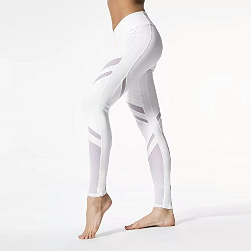 Amazon.com: GlamFabs Legging Fitness White Striped ...