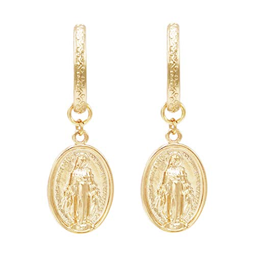 Rosemarie Collections Women's Gold Tone Religious Miraculous Medal Hoop Drop Earrings ()