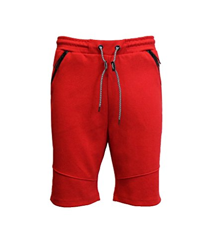 Tech Slim Short - Galaxy by Harvic Mens Tech Fleece Shorts with 3 Zippered Pocket - Fabric - Red, Size X-Large