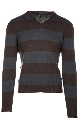 Prada Men's v Neck Jumper Sweater Pullover Brown US Size 46 (US 36) UMN223 QUB - Clothing Prada Line