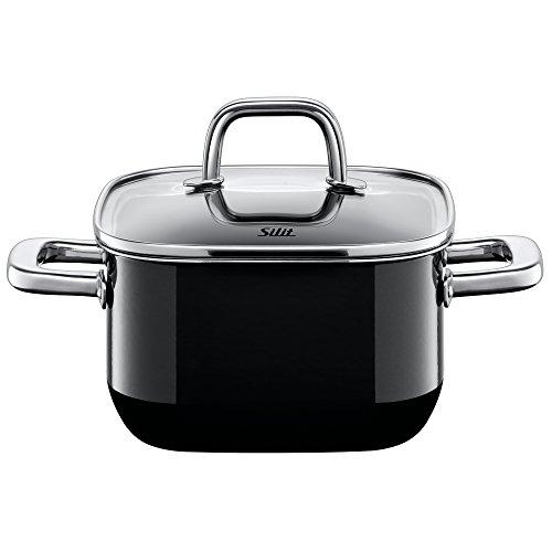(Silit Quadro Black, Stewing Pot, with Lid, Silargan, Suitable for Induction, Black, 2 L, Ø 16 cm, 4716270011)