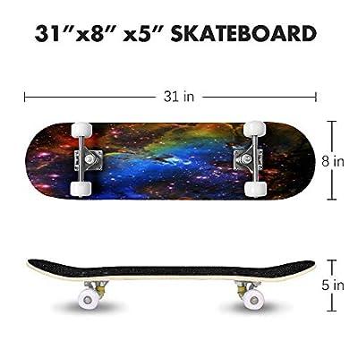 Cuskip Neither Real Nor Imaginary Skateboard Complete Longboard 8 Layers Maple Decks Double Kick Concave Skate Board, Standard Tricks Skateboards Outdoors, 31