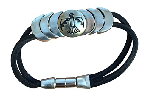 """Native American Indian Leather Magnetic Bracelet """"Protector"""" Black Hand Made S"""