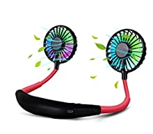 BlueTEK Upgraded Version Portable Neck Fan, Color Changing LED, with Aromatherapy, 360° Free Rotation,and Lower Noise Strong Airflow Headphone Design for Sport, Office, Home, Outdoor, Travel, etc.