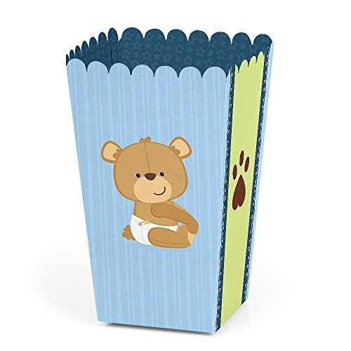 (Baby Boy Teddy Bear - Baby Shower Favor Popcorn Treat Boxes - Set of 12)