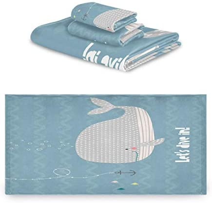 タオル バスタオル フェイスタオル ハンドタオル タオルセット 3点セット クジラ 海 泡 英文柄 キュート速乾 瞬間吸水 耐久性 肌触り抜群