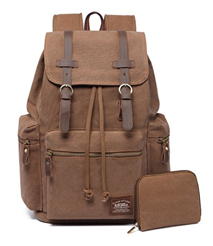 KAUKKO Canvas Vintage Backpack Casual Backpack School Leather Rucksack Outdoor Travel Backpack(Khkai-1)