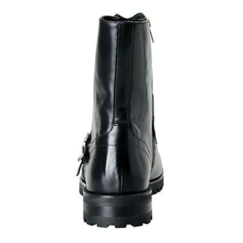 Versace Collezione Uomo Nero In Pelle Moto Scarpe Us 12 It 45