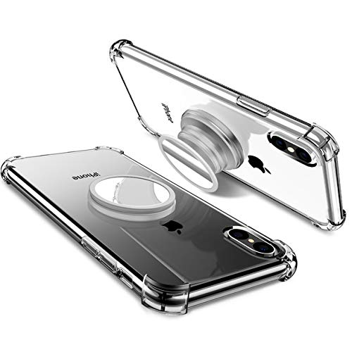 Miracase iPhone X Clear Case with Stand Compatible with iPhone X/XS [Multi-Uses in 1] Stress Relief Anxiety Toys/Mirror/Magnetic Available/Protection TPU Clear Cases with Kickstand(Clear)