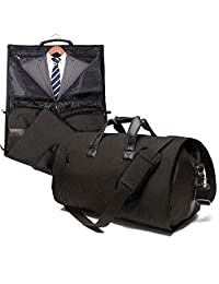 JoofEric Carry On Garment Bag for Travel & Business Trips with Shoulder Strap Duffel Bag with Shoe Pouch (Black)