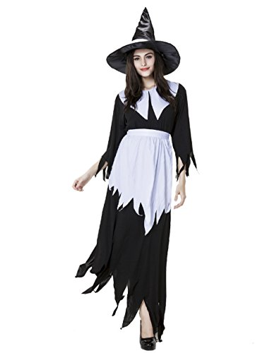 Colorful House Women Halloween Witch Costume Fancy Dress,Black and (Fairy Fancy Dress Adults)