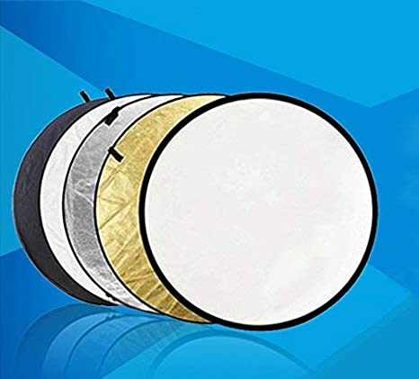 Translucent White Silver Gold and Black 110cm 5-in-1 Collapsible Multi-Disc Light Reflector with Bag SZZWY 43-inch
