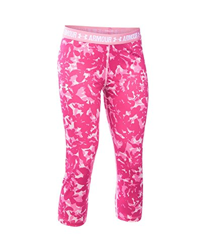 Under Armour Girls' HeatGear Armour Printed Capri, Pink (650), Youth Large