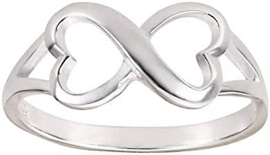 Heart Infinity Ring Sterling Silver 925 (Sizes 3-12)