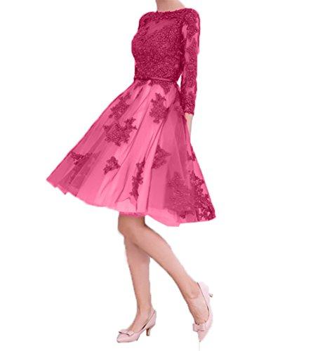 Abendkleider Langarm Cocktailkleider Spitze Kleider Pink Ballkleider Charmant Damen Knielang Partykleider Jugendweihe 6q4fwf