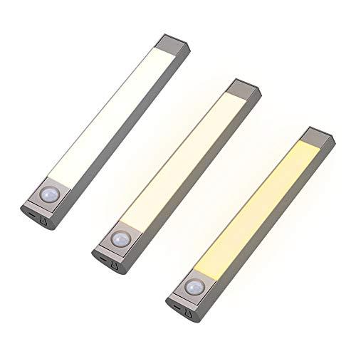Under-Cabinet Lights, Wireless LED Lighting Fit, 3 Level Dimmable Night Light, USB Recharging, Bedside Motion Sensor for Wardrobe Cupboard Closet(3 PCS) 986 Under Cabinet Lights