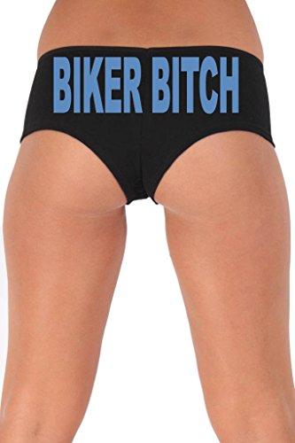 Women's Juniors Blue Biker Bitch Booty Shorts: BLACK SMALL