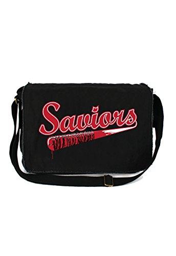 Tenacitee Saviors Black Raw Edge Canvas Messenger (Morgan Black Bag)