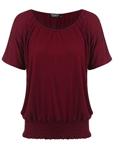 Zeagoo Women's Short Sleeve Solid Casual Loose Fit Pleated Shirring Top 41fUzuRDmyL