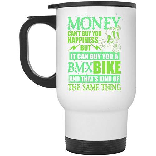 Christmas Mug, It Can Buy You A BMX Bike Travel Mug, Money Can't Buy Happiness Mug (Travel Mug - White)